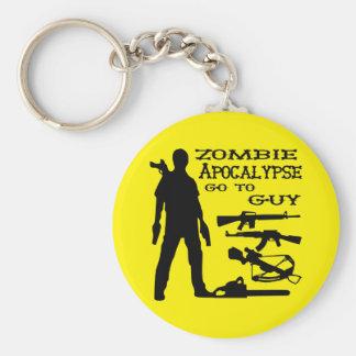 Zombie Apocalypse Go To Guy Weapon, Crossbow, Guns Basic Round Button Keychain