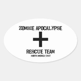 Zombie Apocalypse Rescue Team Norh American Div Oval Stickers