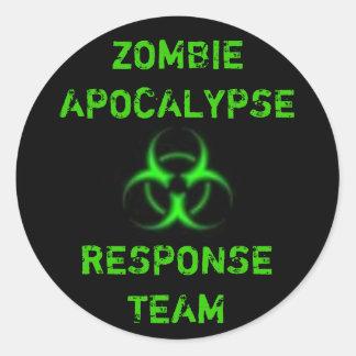 Zombie Apocalypse response team green Classic Round Sticker