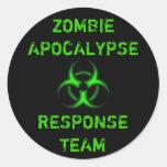 Zombie Apocalypse response team green Round Stickers