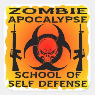 Zombie Apocalypse School Of Self Defense Square Sticker