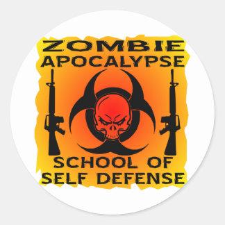 Zombie Apocalypse School Of Self Defense Classic Round Sticker