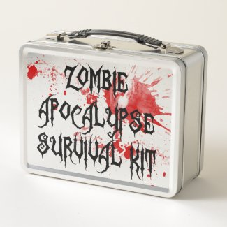 Zombie Apocalypse Survival Kit Blood Splattered Metal Lunch Box