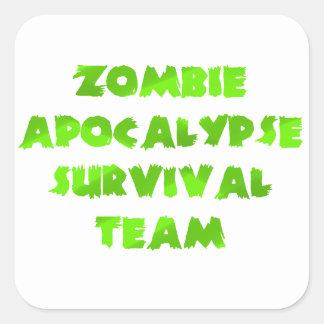 Zombie Apocalypse Survival Team in Green Square Stickers