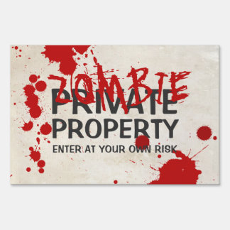 Zombie Area Bloodstained Funny Halloween Yard Sign
