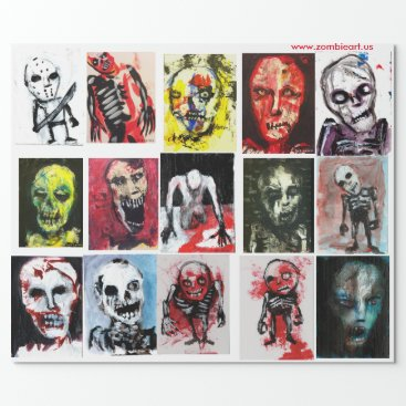 "ZOMBIEARTIST Zombie Art Matte Wrapping Paper, 30"" x 6' Wrapping Paper"