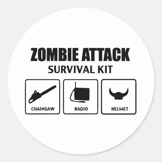 zombie attack survival kit classic round sticker