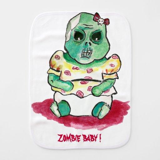 Zombie Baby Girl Baby Burp Cloth