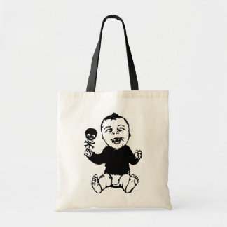 Zombie Baby Holding Skull Rattle Tote