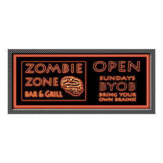 Zombie Bar BYOB Bring Your Own Brains Fake Window Poster