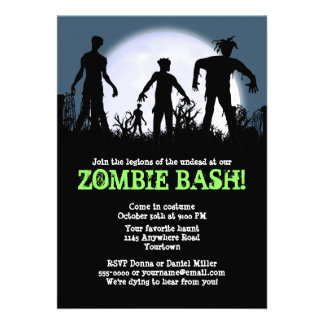 Zombie Bash Halloween Party Personalized Announcements
