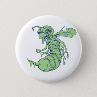 Zombie Bee Cartoon Pinback Button
