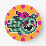 Hand shaped Zombie bee is hungry! round clock