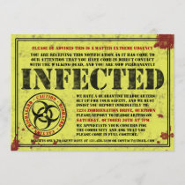 Zombie Biohazard Halloween Party Invitations