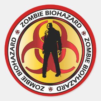 Zombie Biohazard Waste Round Stickers