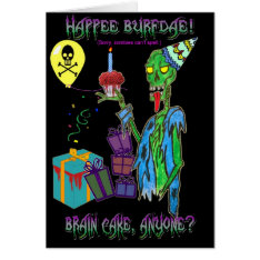 Zombie Birthday Card (blank) at Zazzle