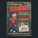 """Zombie Birthday Party Invitations<br><div class=""""desc"""">Super fun Zombie birthday party invitations with three zombies,  grungy background and back. Great for a sleepover,  halloween party,  or any occasion that includes scary zombies!</div>"""