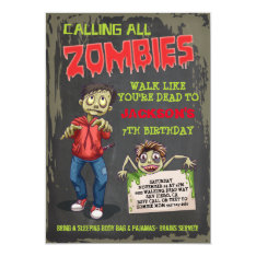 Zombie Birthday Party Invitations at Zazzle