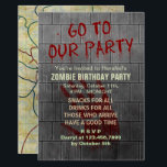 """Zombie Birthday Party Undead Apocalypse Blood Text Invitation<br><div class=""""desc"""">Throw a zombie - themed birthday party with these creepy invitations. Except for the bloody """"Go To Our Party"""" text dripping down the concrete wall, all text is customizable on these scary invites inspired by the undead. Below your custom text on the gray distressed wall, there is a bloody handprint,...</div>"""