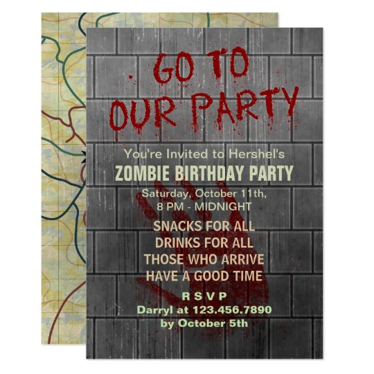 Zombie Birthday Party Undead Apocalypse Blood Text Invitation