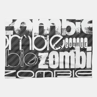 Zombie; Black & Dark Gray Stripes Kitchen Towel