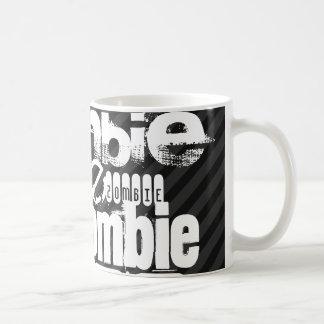 Zombie; Black & Dark Gray Stripes Classic White Coffee Mug