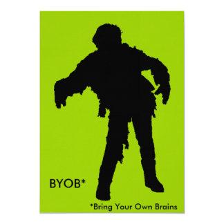 Zombie Black Silhouette 5x7 Paper Invitation Card