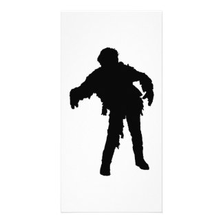 Zombie Black Silhouette Customized Photo Card