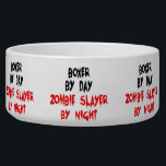 "Zombie Boxer Dog Joke Bowl<br><div class=""desc"">This bloody text design is perfect for any Boxer dog who is a zombie slayer by night.</div>"