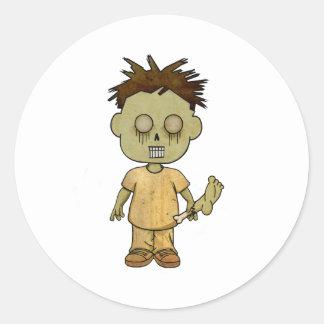 Zombie Boy Classic Round Sticker