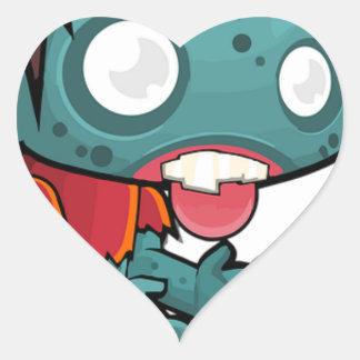 Zombie Boy Comic Heart Sticker