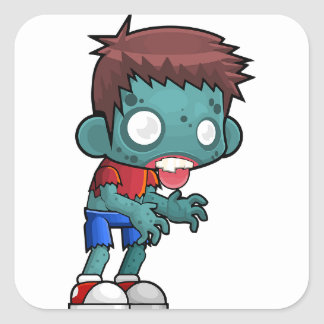 Zombie Boy Comic Square Sticker