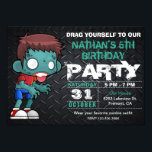 """Zombie Boy Halloween Costume Birthday Invitation<br><div class=""""desc"""">Invite your guests with this cool Halloween birthday party invitation featuring a funny cartoon zombie with modern typography against a dark steel background. Simply add your event details on this easy-to-use template to make it a one-of-a-kind invitation.</div>"""