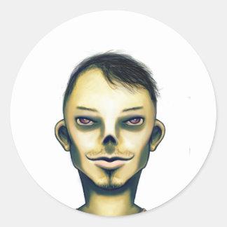 Zombie Boy Smiling Classic Round Sticker