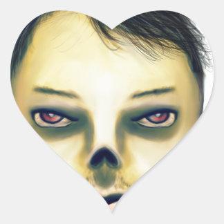 Zombie Boy Smiling Heart Sticker