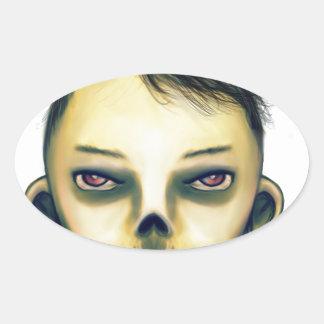 Zombie Boy Smiling Oval Sticker