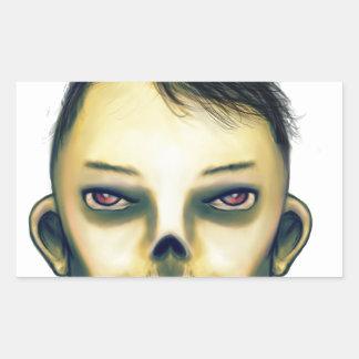 Zombie Boy Smiling Rectangular Sticker