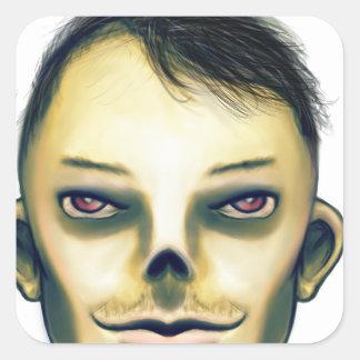 Zombie Boy Smiling Square Sticker