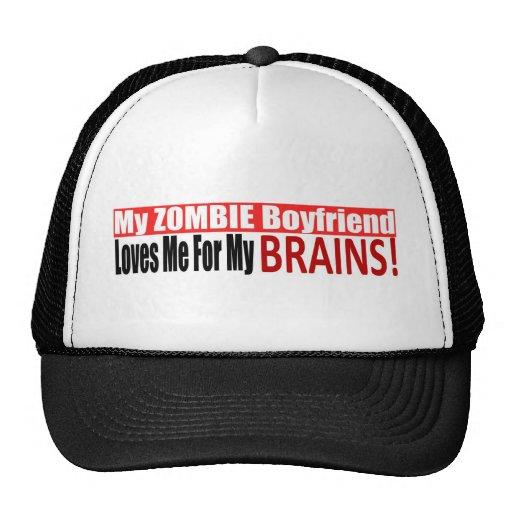Zombie Boyfriend Loves Brains BUMPER Design Trucker Hats