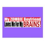 Zombie Boyfriend Loves Brains BUMPER Design Postcards