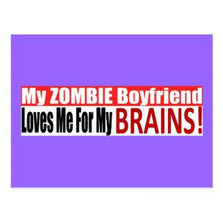 Zombie Boyfriend Loves Brains BUMPER Design Postcard
