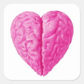 Zombie Brain Heart Square Sticker