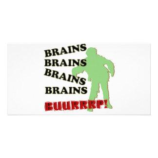 Zombie Brains Brains Brains Burp! Customized Photo Card