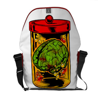Zombie Brains in a Jar Messenger Bag