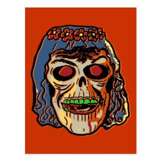 Zombie Bride - Vintage Halloween Mask Postcard