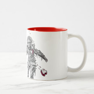 Zombie Broken Heart with Flower Two-Tone Coffee Mug