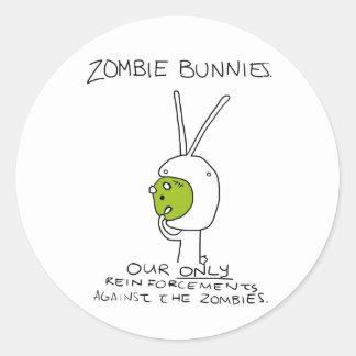 Zombie Bunnies! (w/o stripes) Round Stickers