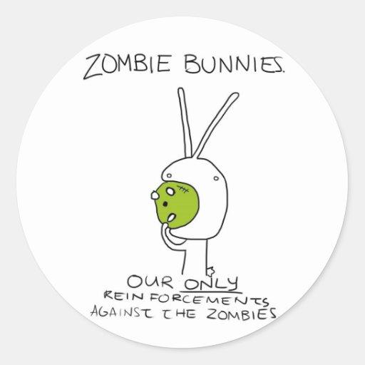 Zombie Bunnies! (w/o stripes) Classic Round Sticker