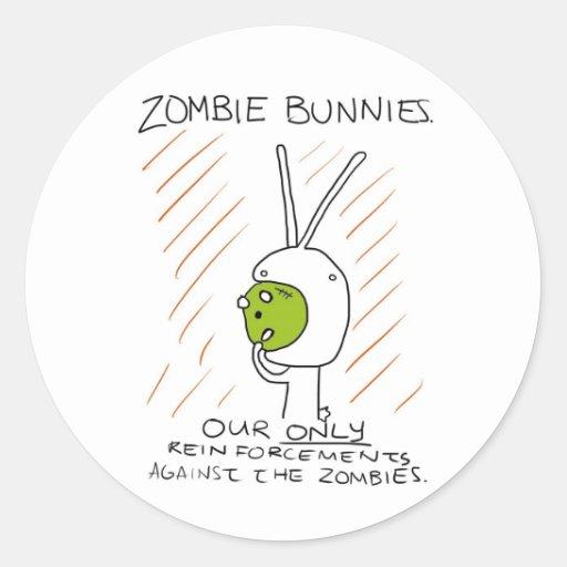 Zombie Bunnies! (w/ stripes) Classic Round Sticker
