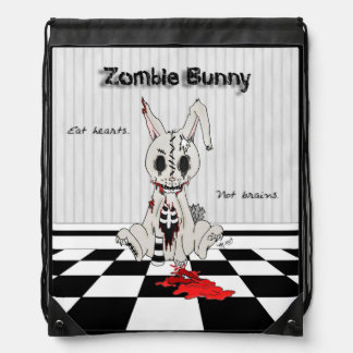 Zombie Bunny - with background Drawstring Backpack
